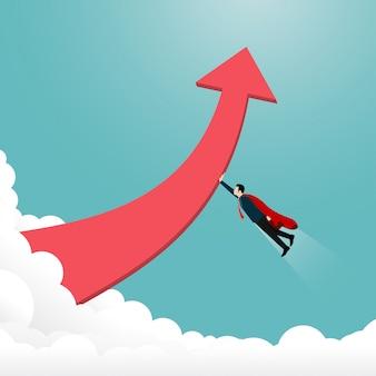 Navio de empresário de inicialização voando para o objetivo de sucesso.