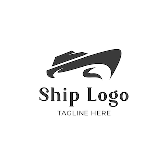 Navio de logotipo no mar moderno