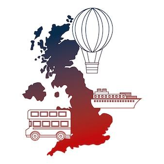 Navio de ônibus de convés duplo de mapa britânico e balão de ar quente