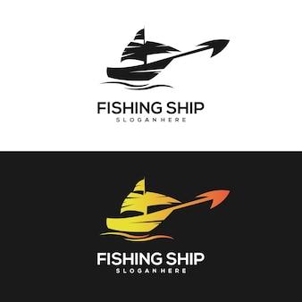 Navio de pesca com logotipo vintage gradiente dourado