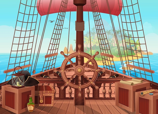 Navio de piratas com uma ilha no horizonte. ilustração da vista da ponte do barco a vela. plano de fundo para jogos e aplicativos móveis. batalha no mar ou conceito de viagem.