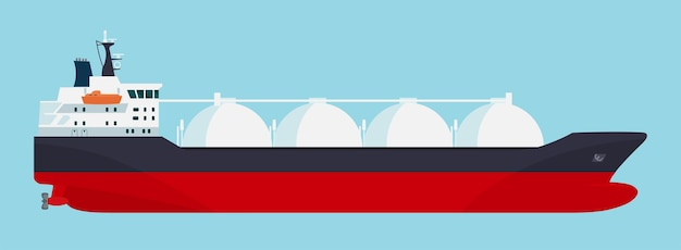 Navio de transporte de gás isolado. ilustração vetorial.