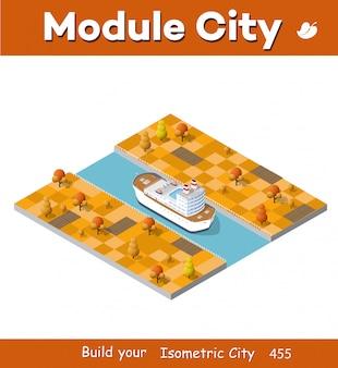 Navio de turismo isométrico para navio