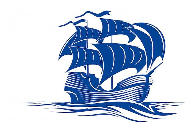 Navio de vela na água do oceano para viagens ou outro projeto