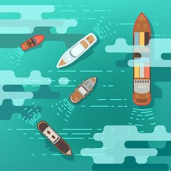 Navio do mar da vista superior e barco de transporte na ilustração do vetor da superfície da água do oceano. navio e barco, trave