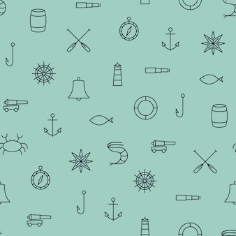 Navio e mar linha padrão sem emenda de ícones