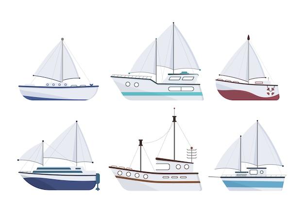 Navio marítimo. conjunto de iate plano, barco, barco a vapor, balsa, navio de pesca, rebocador, barco de recreio, navio de cruzeiro. veleiro isolado no fundo branco. conceito de transporte marítimo.