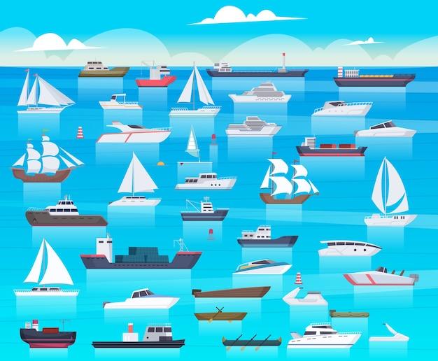 Navio no mar. barcos à vela e cruzeiro de passageiros viajam em submarino de carga do oceano e desenho de fundo de iate