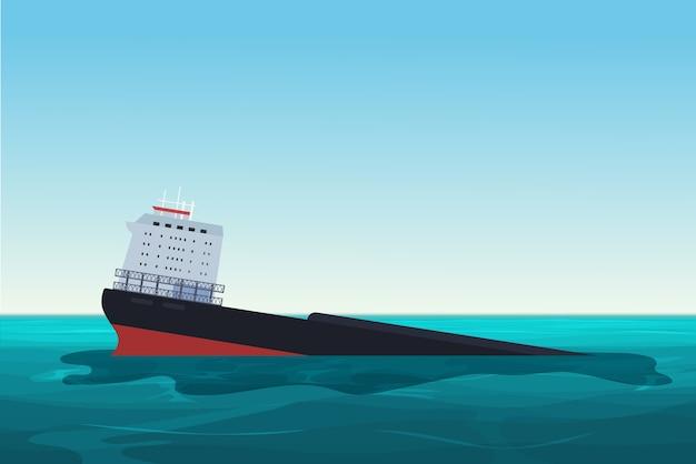 Navio petroleiro naufragado. acidente de derramamento de óleo. ilustração do conceito de poluição ambiental