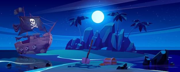 Navio pirata atracado na ilha com tesouro à noite