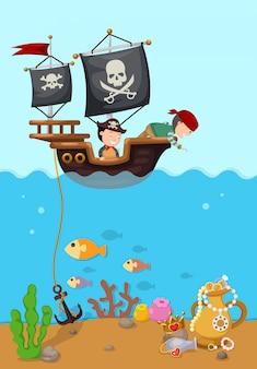 Navio pirata bela paisagem