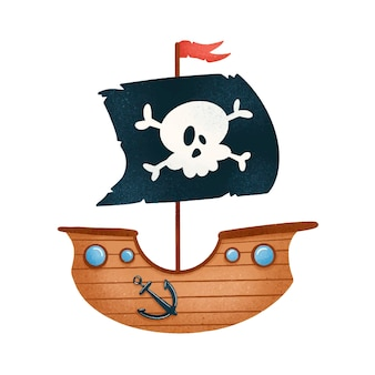 Navio pirata bonito dos desenhos animados isolado no branco
