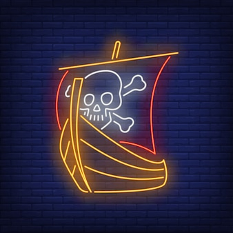Navio pirata com caveira e ossos cruzados em sinal de néon de vela