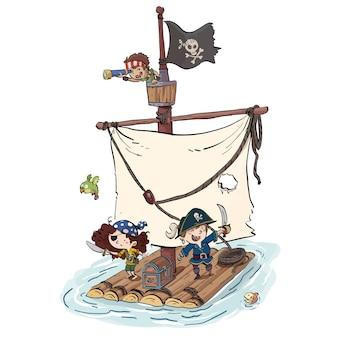 Navio pirata com crianças
