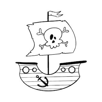 Navio pirata de estilo doodle isolado no branco. página para colorir navio pirata