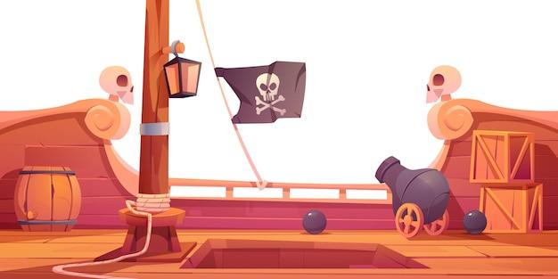 Navio pirata, deck de madeira, vista a bordo com canhão