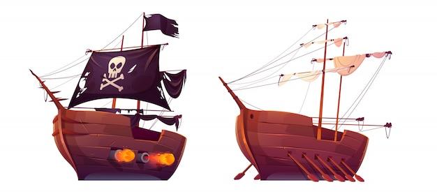 Navio pirata e galera de escravos com remos isolados