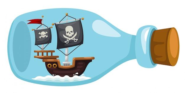 Navio pirata em garrafa