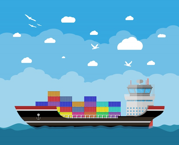 Navio porta-contêiner comercial