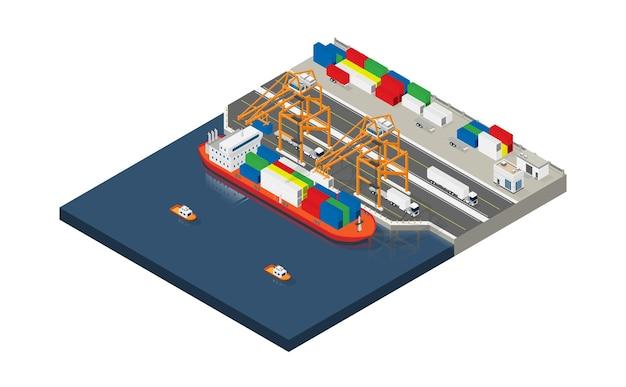 Navio porta-contêineres em negócios de exportação e importação e logística