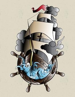 Navio tatuagem à moda antiga