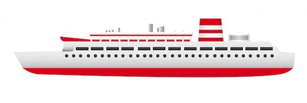 Navio vermelho e branco isolado sobre o vetor de fundo branco