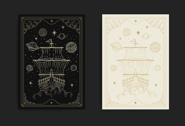 Navio vintage flutuando no espaço cheio de estrelas e planetas