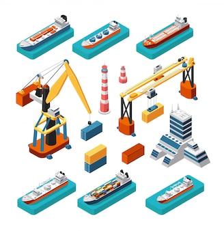 Navios 3d isométricos, guindastes, construção de porto marítimo, farol e contêineres vector conjunto logístico marinho isolado