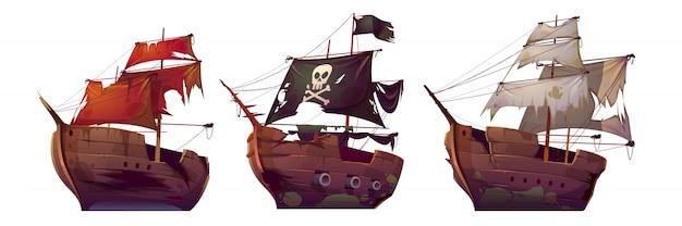 Navios após naufrágio, velhos barcos a vela quebrados