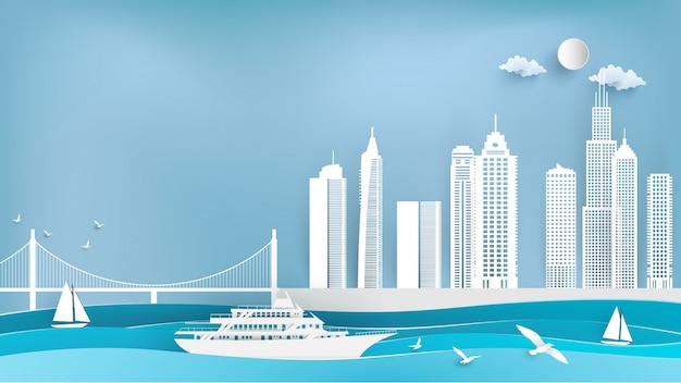 Navios de cruzeiro e cidades na arte de papel