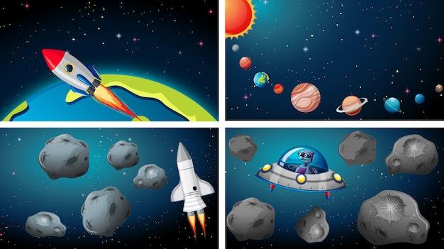 Navios na cena do espaço