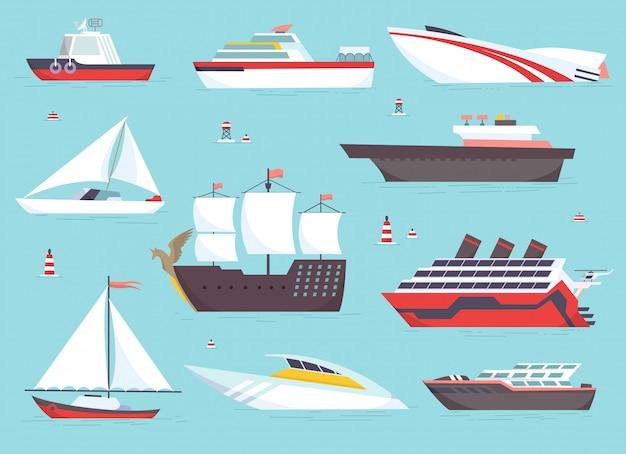 Navios no mar, barcos de transporte