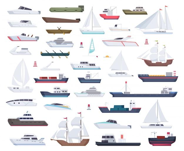 Navios oceânicos. iate de barcos à vela e viajar coleção de desenhos animados grande e pequeno navio