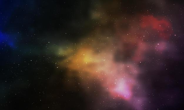Nebulosa da noite estrelada do universo infinito realista brilhando poeira estelar cor galáxia fundo vector