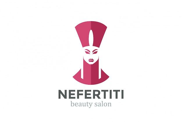 Nefertiti head silhouette salão de beleza spa modelo de design de logotipo.