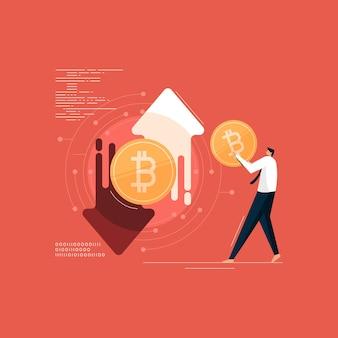 Negociação de criptomoeda bitcoin e investimento em tecnologia digital