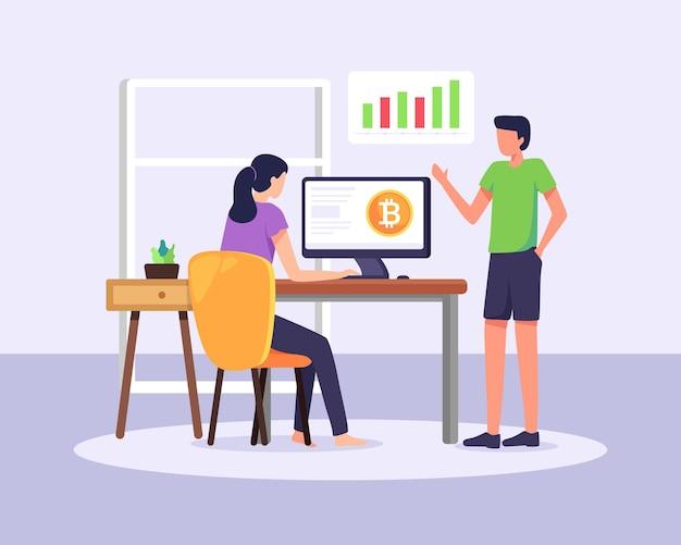 Negociação de criptomoedas e cursos sobre tecnologia blockchain de câmbio digital