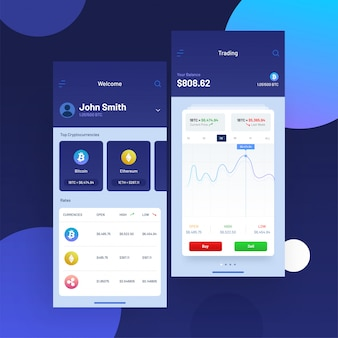 Negociação de criptomoedas e troca de interface do usuário para aplicativos móveis.