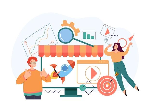 Negociação de loja online de marketing de internet online para iniciar um novo conceito de negócio