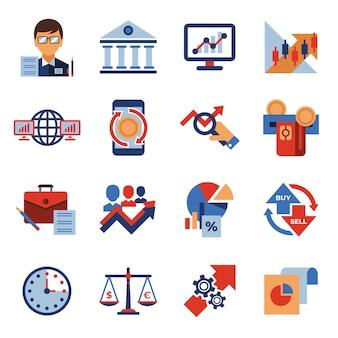 Negociação financeira e coleção de ícones de mercados