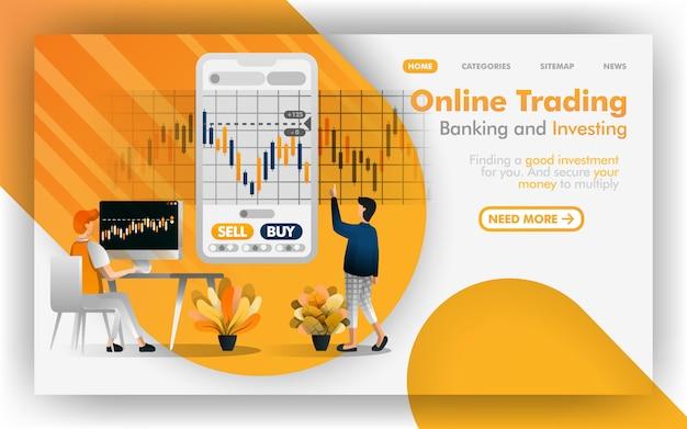 Negociação on-line segura, banco e investimento