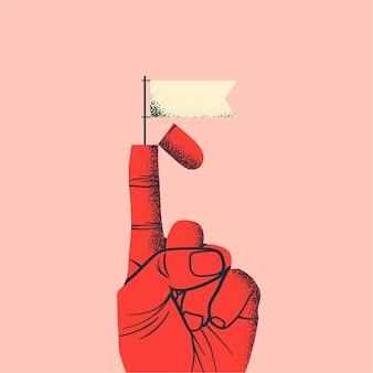 Negociações comerciais ou conceito de trégua com mão vermelha levantada e bandeira branca saindo do dedo indicador