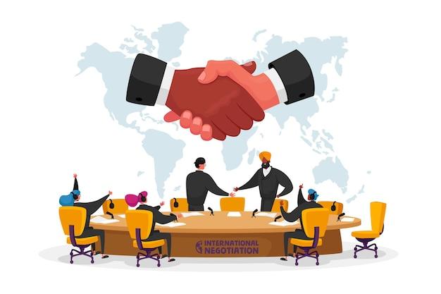 Negociações internacionais, reunião política no conceito de mesa redonda