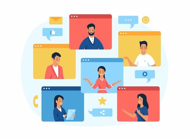 Negociações remotas. comunicação da equipe de negócios Vetor Premium