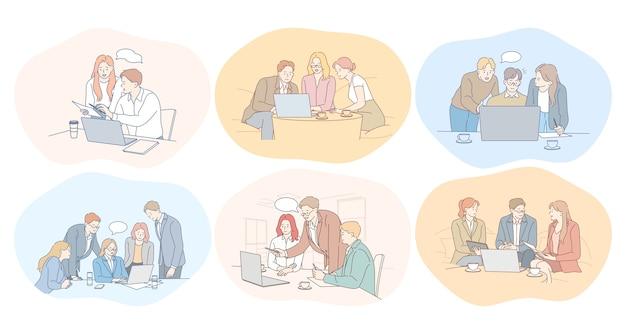 Negociações, trabalho em equipe, brainstorming, colaboração, negócios, desenvolvimento, conceito de sucesso.