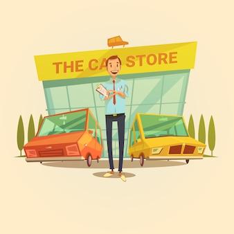 Negociante de carro e carro armazenar conceito dos desenhos animados com diferentes tipos de ilustração vetorial de carros