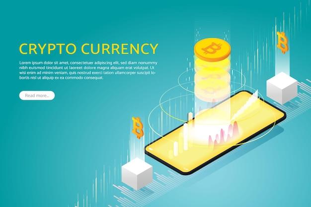 Negocie bitcoin via telefone inteligente com blockchain de criptomoeda online de investimento