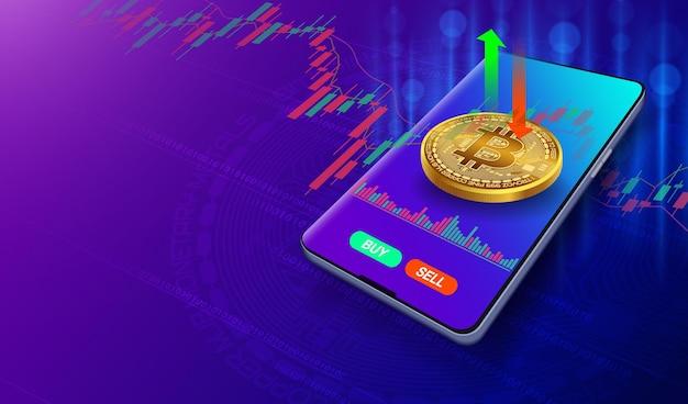 Negocie no mercado de ações bitcoin em seu smartphone em fundo roxo azul