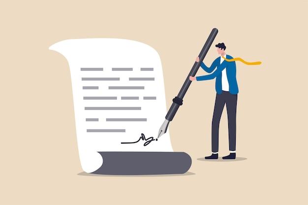 Negócio, acordo, contrato de assinatura e papelada para empréstimo bancário, hipoteca ou política governamental, líder de empresário de confiança ou cliente usando caneta-tinteiro assinando sua assinatura na papelada.