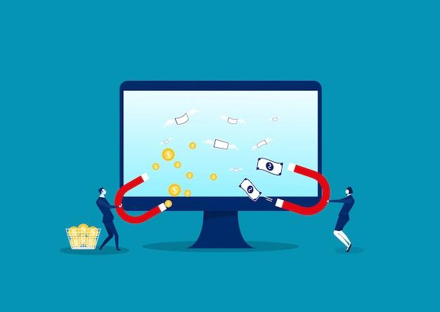 Negócio atrair moedas e notas de dólar no computador portátil conceito